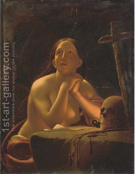Penitent contemplation by (after) Petrus Van Schendel - Reproduction Oil Painting