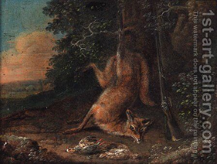 A dead fox and a brace of partridge at the edge of a wood by (after) Ferdinand Phillip De Hamilton - Reproduction Oil Painting