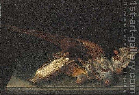 A dead pheasant, partridge and woodcock on a stone ledge by (after) Ferdinand Phillip De Hamilton - Reproduction Oil Painting
