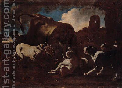 Hounds attacking a bull by (after) Philipp Peter Roos - Reproduction Oil Painting