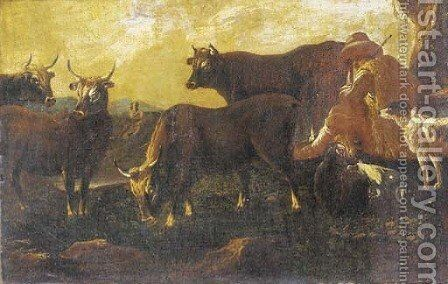 A herdsman resting with his cattle and dog by (after) Philipp Peter Roos - Reproduction Oil Painting