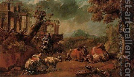 An Italianate landscape with a shepherd playing a doodlesack by (after) Philipp Peter Roos - Reproduction Oil Painting