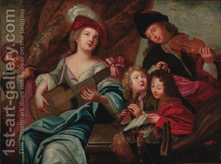Children making music by (after) Mercier, Philippe - Reproduction Oil Painting