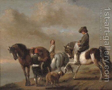 A landscape with horsemen by a bank by (after) Philips Wouwerman - Reproduction Oil Painting