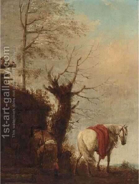 Collecting firewood by (after) Philips Wouwerman - Reproduction Oil Painting