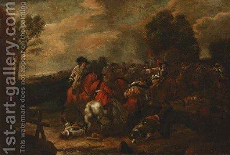 A cavalry skirmish by (after) Philips Wouwerman - Reproduction Oil Painting