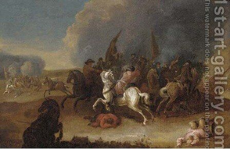 A cavalry skirmish 2 by (after) Philips Wouwerman - Reproduction Oil Painting
