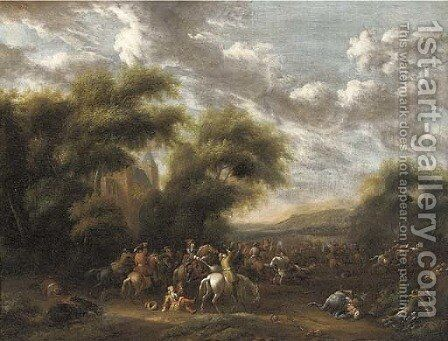 A cavalry skirmish in a wooded landscape by (after) Philips Wouwerman - Reproduction Oil Painting