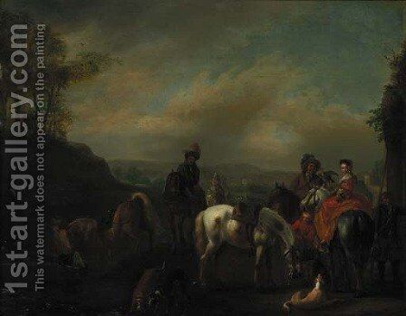 A hawking party at rest in a landscape by (after) Philips Wouwerman - Reproduction Oil Painting