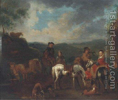 A hawking party halted in a landscape by (after) Philips Wouwerman - Reproduction Oil Painting