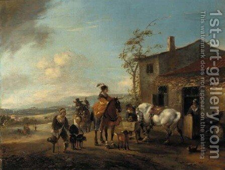 A hawking party halting at a blacksmith's shop by (after) Philips Wouwerman - Reproduction Oil Painting