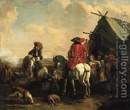 A herald at an encampment by (after) Philips Wouwerman - Reproduction Oil Painting