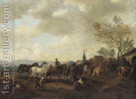 A horse fair 2 by (after) Philips Wouwerman - Reproduction Oil Painting