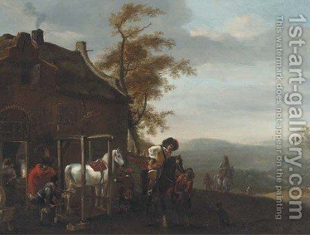 Cavalrymen at a forge by (after) Philips Wouwerman - Reproduction Oil Painting