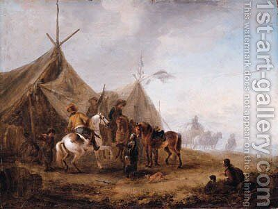 Cavalrymen taking refreshment in a camp by (after) Philips Wouwerman - Reproduction Oil Painting