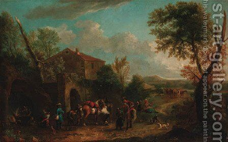 Horsemen at a farriers by (after) Philips Wouwerman - Reproduction Oil Painting