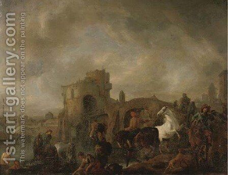A hawking party with washerwomen and bathers, a ship, a bridge and a town beyond by (after) Philips Wouwerman - Reproduction Oil Painting