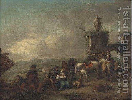 A hunting party at rest in a landscape by (after) Philips Wouwerman - Reproduction Oil Painting
