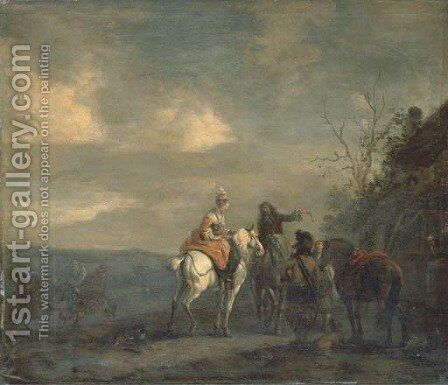 Elegant company on horseback at halt outside a cottage, a landscape beyond by (after) Philips Wouwerman - Reproduction Oil Painting