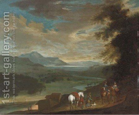 Travellers on a country track at dusk by (after) Philips Wouwerman - Reproduction Oil Painting