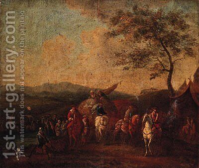 Figures resting by a Military Encampment by (after) Philips Wouwerman - Reproduction Oil Painting