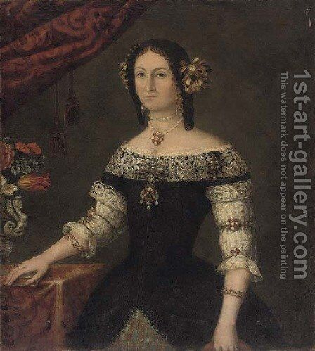 Portrait of a lady, three-quarter-length, her right hand resting on a book by (after) Pier Francesco Cittadini - Reproduction Oil Painting