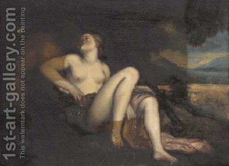 Pan and a sybil in an embrace by (after) Pier Francesco Mola - Reproduction Oil Painting