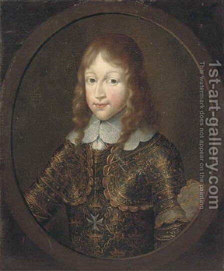Portrait of a gentleman, half-length, in armour by (after) Mignard, Paul - Reproduction Oil Painting
