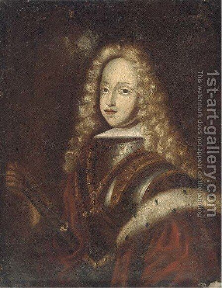 Portrait of a young nobleman, half-length, wearing armour by (after) Mignard, Paul - Reproduction Oil Painting