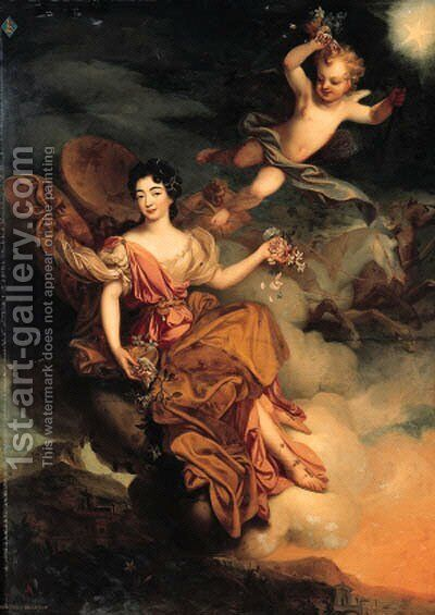 Portrait of Madmoiselle de La Force as Flora, full-length, with Putti in a landscape by (after) Mignard, Pierre II - Reproduction Oil Painting
