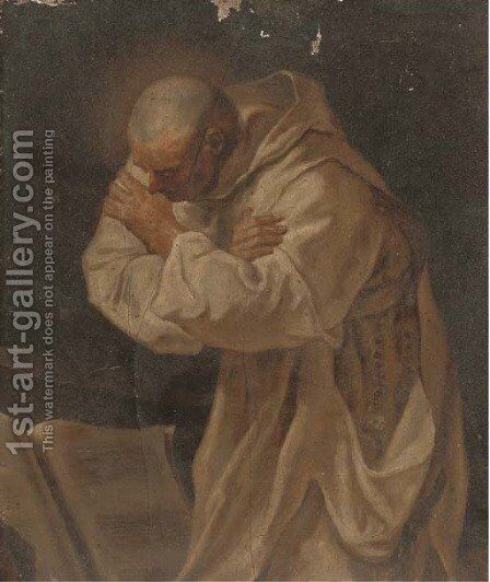 A monk in white robes praying before a book by (after) Pierre Subleyras - Reproduction Oil Painting