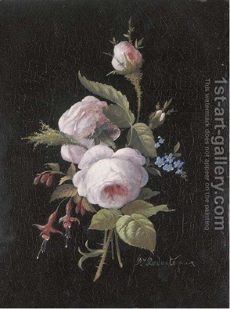 A bouquet of roses, forget-me-nots and fuchsia by (after) Pierre-Joseph Redoute - Reproduction Oil Painting