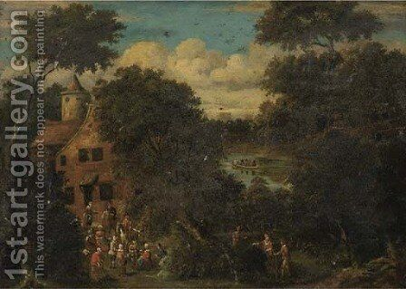 A wooded river landscape with villagers gathered in the foreground by (after) Pieter Bout - Reproduction Oil Painting
