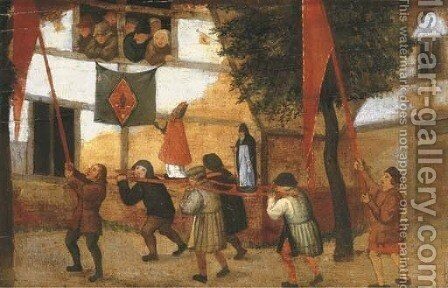 A religious procession in a village a fragment by (after) Pieter The Younger Brueghel - Reproduction Oil Painting