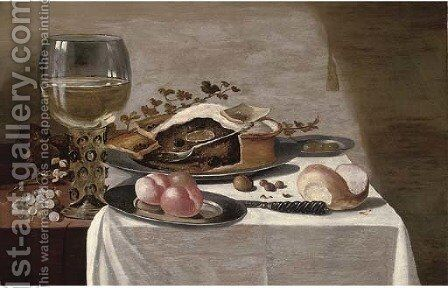 A pie on a pewter plate, a giant roemer, peaches on a pewter plate by (after) Pieter Claesz - Reproduction Oil Painting