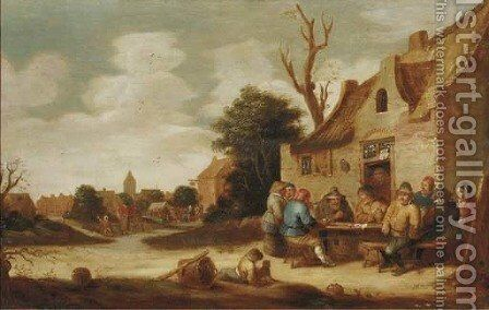 Boors smoking and drinking outside an inn, a village in the distance by (after) Pieter De Bloot - Reproduction Oil Painting
