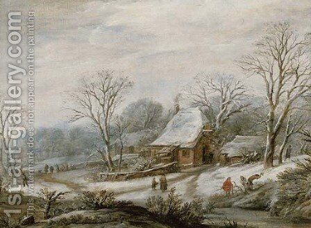 A winter landscape with figures by a cottage by (after) Pieter Dircksz. Santvoort - Reproduction Oil Painting