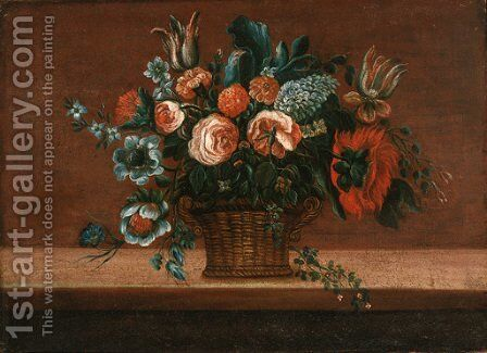 Parrot tulips, roses and carnations in a basket on a stone ledge by (after) Pieter Gaspar Verburggen II - Reproduction Oil Painting