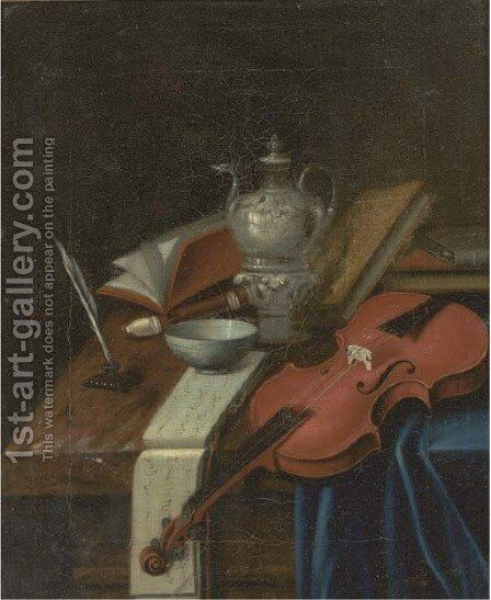 A violin, a recorder, a music score, a quill and ink, a silver teapot and books on a partially draped table by (attr. to) Roestraten, Pieter Gerritsz. van - Reproduction Oil Painting