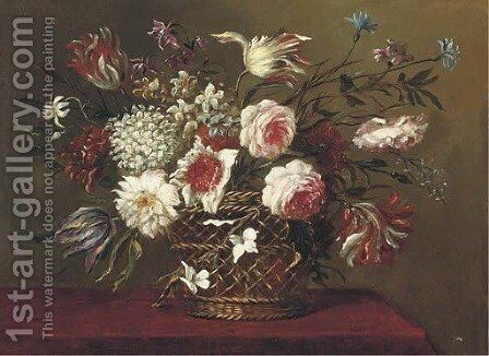 Parrot tulips, narcissi, roses and other flowers in a basket on a table by (after) Pieter Hardime - Reproduction Oil Painting