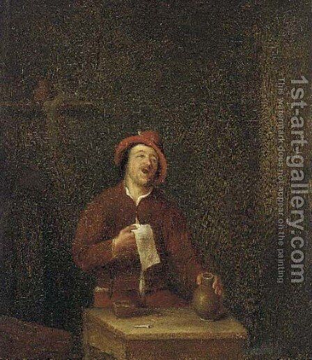 A peasant carousing in an interior by (after) Pieter Harmansz Verelst - Reproduction Oil Painting