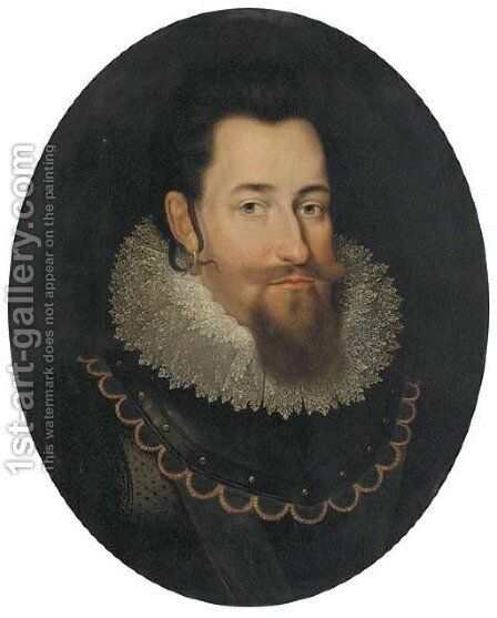 Portrait of Christian IV, King of Denmark and Norway (1577-1648) by (after) Pieter Isaacsz - Reproduction Oil Painting