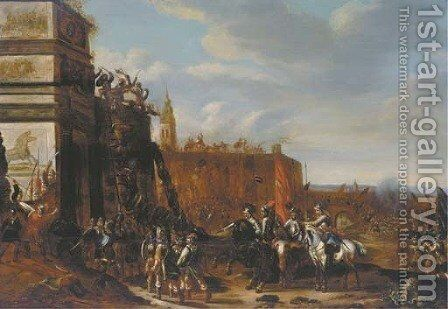 Soldiers holding siege at the gates of a fortified town, a battlefield beyond by (after) Pieter Meulener - Reproduction Oil Painting