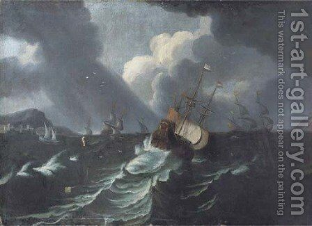 Three-masters and other shipping in a storm by (after) Pieter The Younger Mulier (Tampesta, Pietro) - Reproduction Oil Painting
