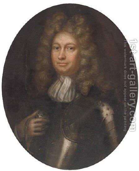Portrait of a gentleman, quarter-length, in armour by (after) Pieter Nason - Reproduction Oil Painting