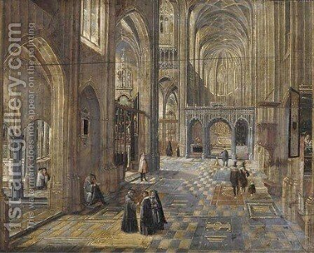 The interior of a Gothic church by (after) Peeter, The Elder Neeffs - Reproduction Oil Painting