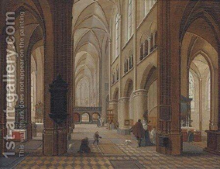 A church interior with elegant company in the foreground by (after) Peeter, The Younger Neeffs - Reproduction Oil Painting