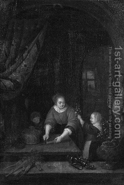 A maid, at a draped stone window, cutting carrots by (after) Pieter Cornelisz. Van SLINGELANDT - Reproduction Oil Painting
