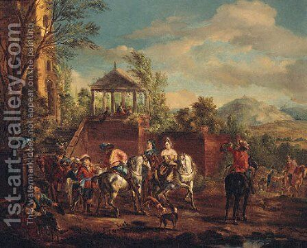 A hunting Party by a Terrace by (after) Pieter Wouwermans Or Wouwerman - Reproduction Oil Painting