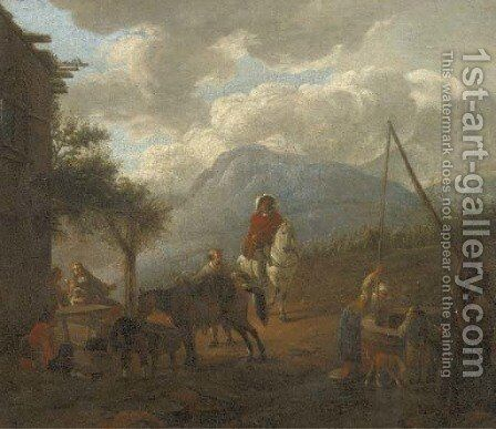 Travellers resting and watering their horses by an inn by (after) Pieter Wouwermans Or Wouwerman - Reproduction Oil Painting